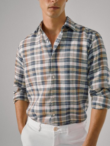 SLIM FIT LINEN CHECK SHIRT