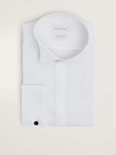 마시모두띠 Massimo Dutti TAILORED TEXTURED WEAVE SHIRT,WHITE