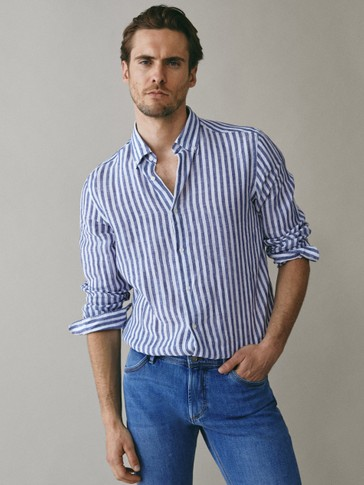 SLIM FIT STRIPED 100% LINEN SHIRT