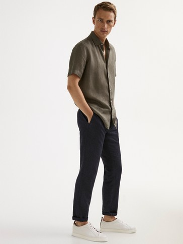 Slim fit 100% linen faded shirt