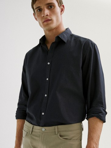 Slim fit cotton plain shirt