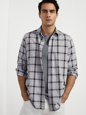 Chemise coton à carreaux regular fit
