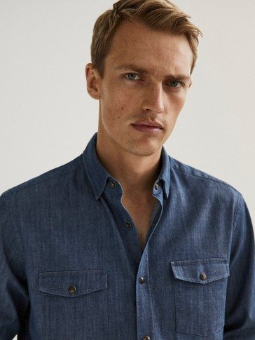 Slim fit cotton denim shirt with pockets