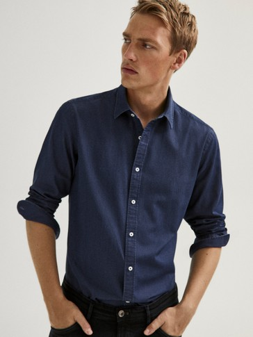 Slim fit micro-print denim shirt