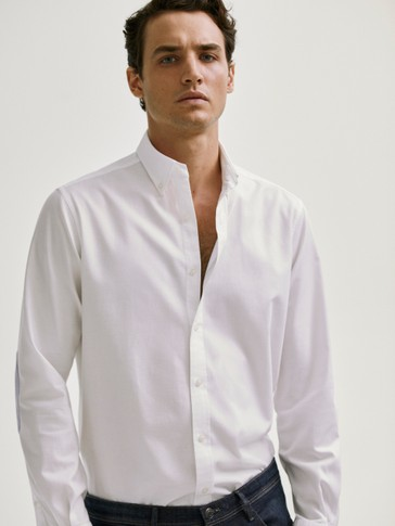 Camisa coderas melange slim fit