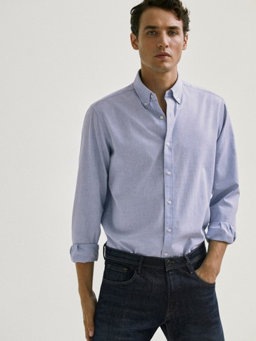 Slim fit melange elbow patch shirt