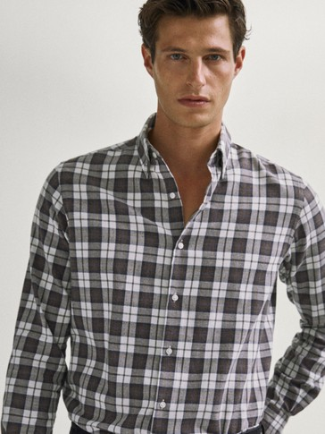 Slim fit check cotton shirt