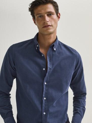 Košulja slim kroja od sitno rebrastog baršuna od 100 % pamuka