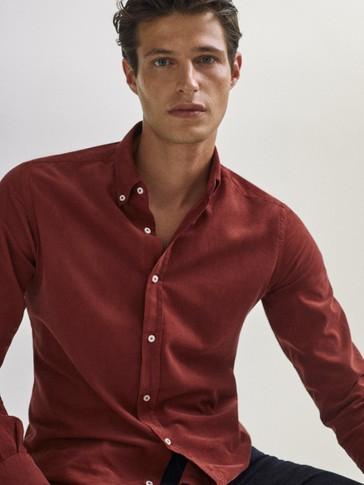 Camisa micropana slim fit 100% algodón