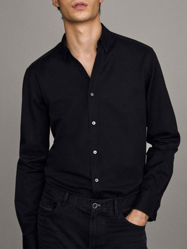 Slim fit black denim shirt made of 100% cotton
