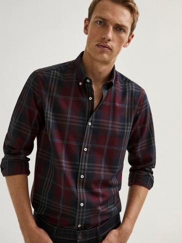Camisa cuadros slim fit algodón