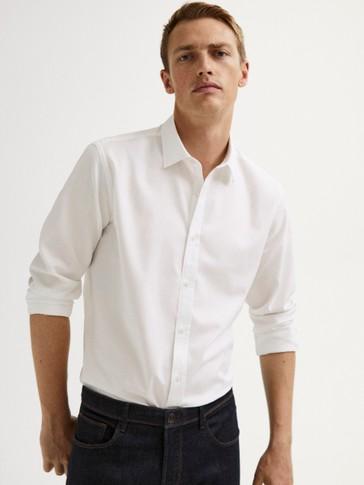 قميص قطني برقع الأكواع سليم فيت