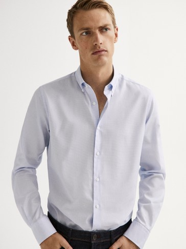 SLIM FIT COTTON SHIRT WITH ELBOW PATCHES