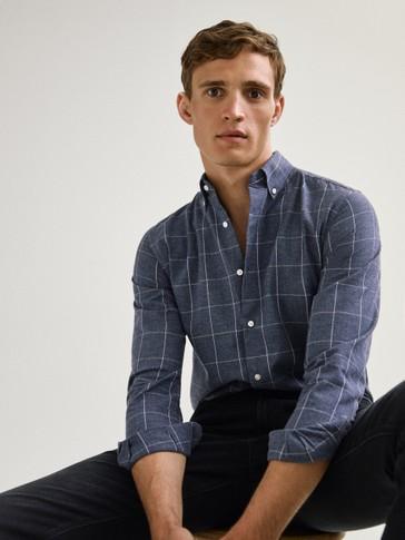قميص قطني بمربعات ريغولار فيت