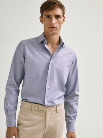 Slim fit cotton melange shirt