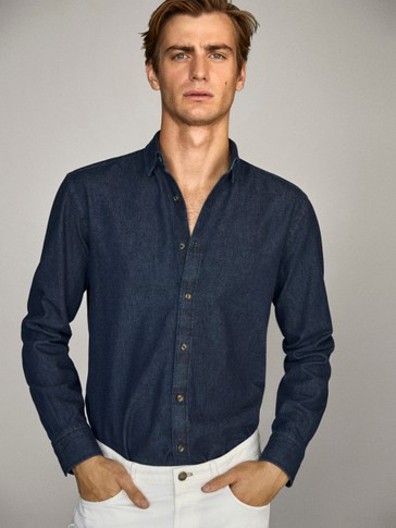 Camisa denim rentada 100% cotó slim fit