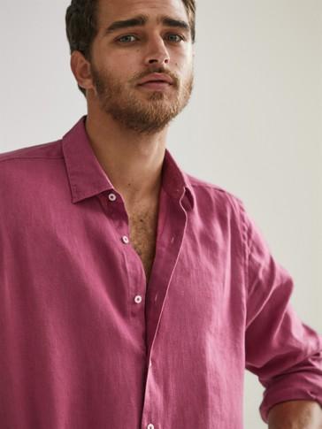 Camisa 100% lino tintada slim fit