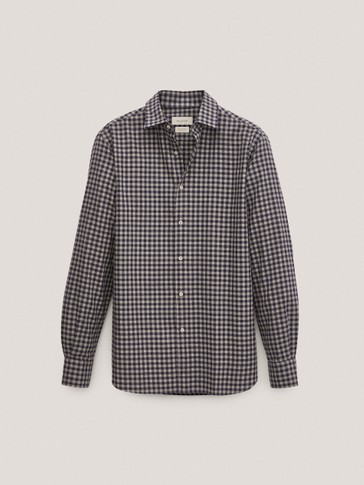 Regular-fit cotton gingham check herringbone shirt