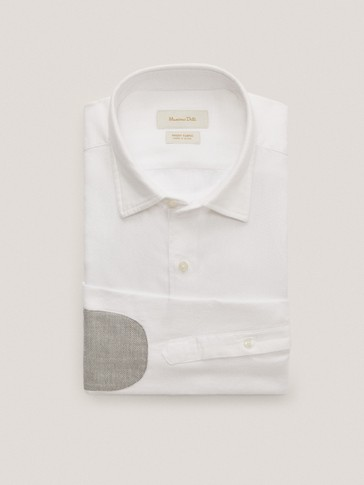 Regular-fit cotton textured shirt with elbow patches
