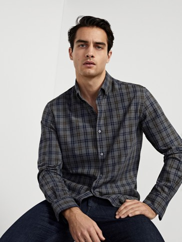 Slim fit two-colour check 100% cotton shirt