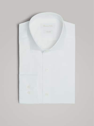 마시모두띠 Massimo Dutti TAILORED FIT PLAIN POPLIN EASY IRON SHIRT,WHITE