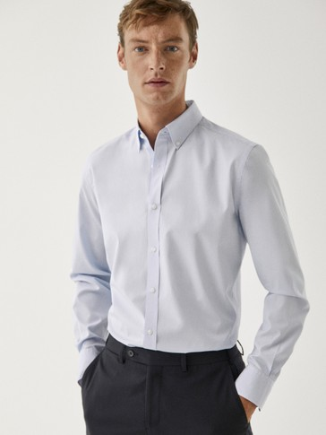 Slim fit microstriped cotton shirt