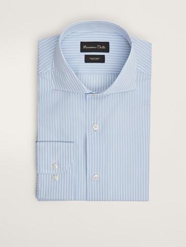قميص مقلّم من القطن بقصة مفصّلة