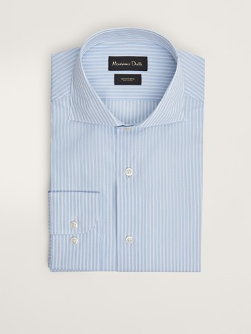 TAILORED FIT STRIPED COTTON SHIRT