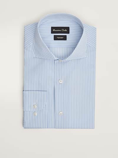 마시모두띠 셔츠 Massimo Dutti TAILORED FIT STRIPED COTTON SHIRT,SKY BLUE