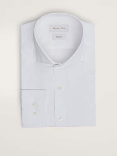 마시모두띠 Massimo Dutti SLIM FIT EASY IRON TWILL COTTON SHIRT,WHITE