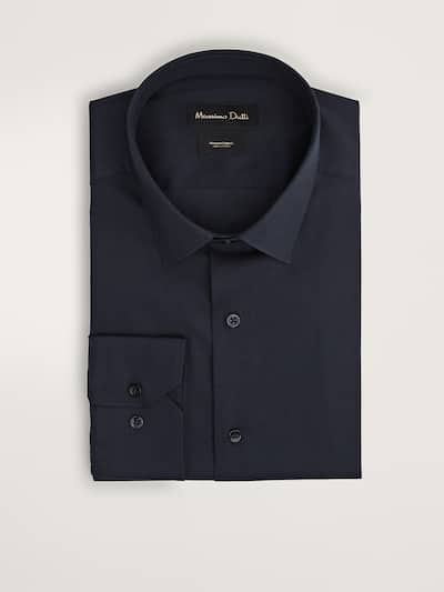 마시모두띠 Massimo Dutti COTTON SLIM FIT OTTOMAN SHIRT,NAVY BLUE