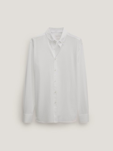 100% cotton stretch twill slim fit shirt