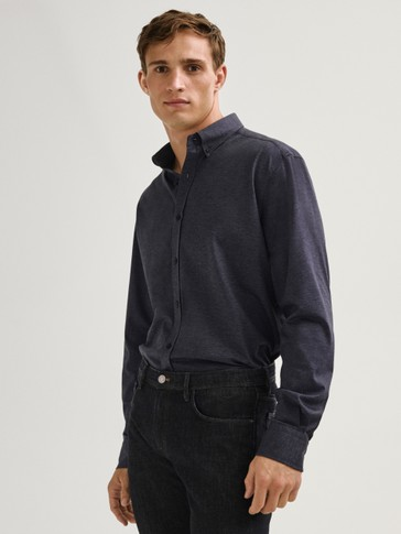 100% cotton stretch twill slim fit shirt
