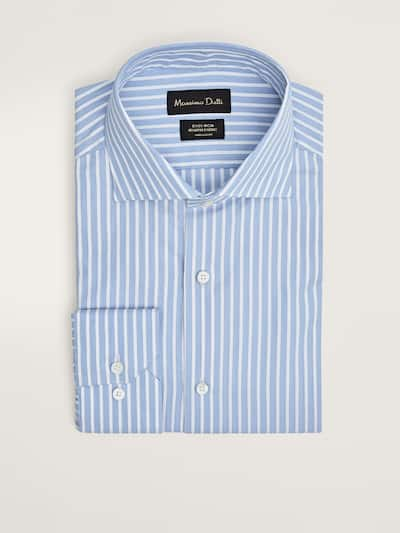 마시모두띠 Massimo Dutti STRIPED SLIM FIT EASY IRON COTTON SHIRT,SKY BLUE