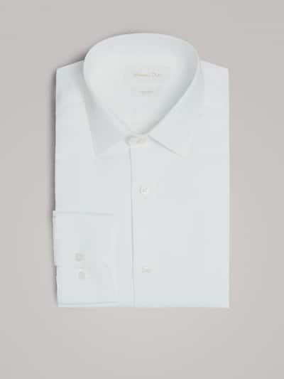마시모두띠 Massimo Dutti TEXTURED WEAVE SLIM FIT SHIRT WITH SMOCKING,WHITE
