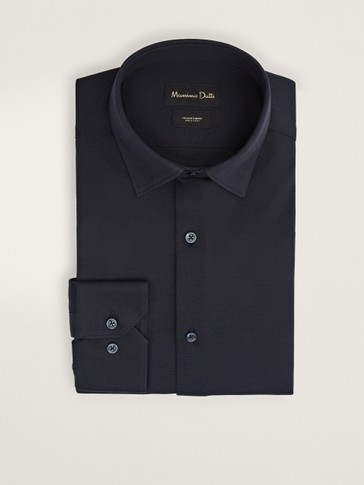 Slim fit navy blue cotton shirt
