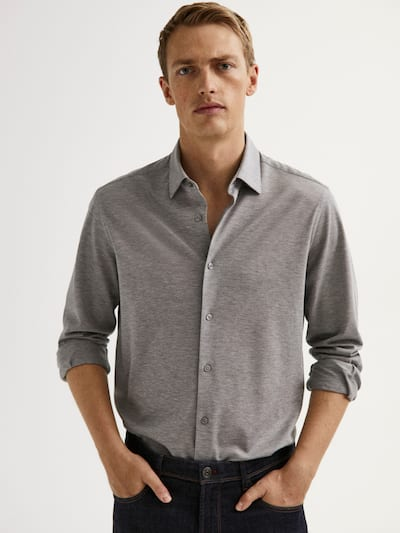 마시모두띠 슬림핏 피케 셔츠 Massimo Dutti SLIM FIT COTTON PIQUEE SHIRT,GREY