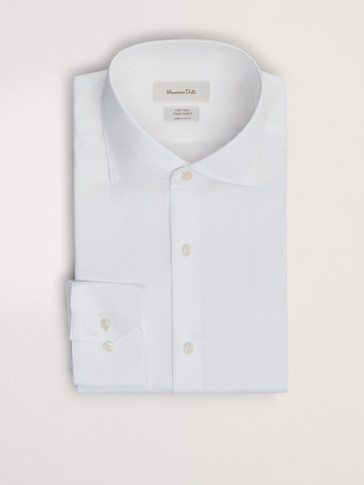 Tailored fit easy iron false plain shirt