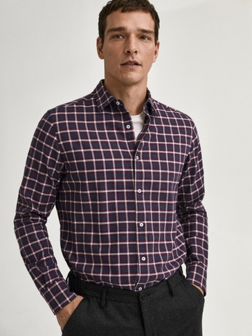 Slim-fit check cotton flannel shirt