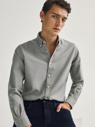 Slim-fit textured 100% cotton shirt