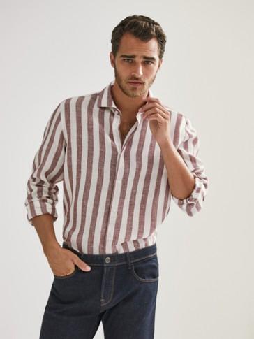 قميص 100% من الكتان مخطط سليم فيت