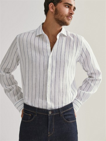 Camisa rayas lino regular fit