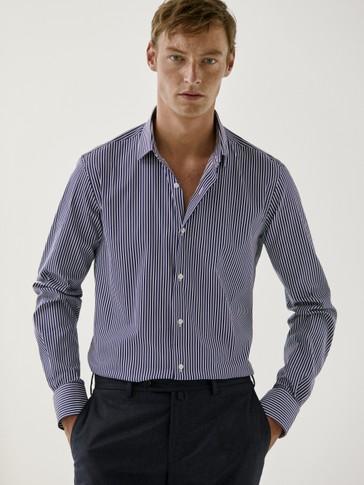 Camicia extra slim fit di cotone a righe