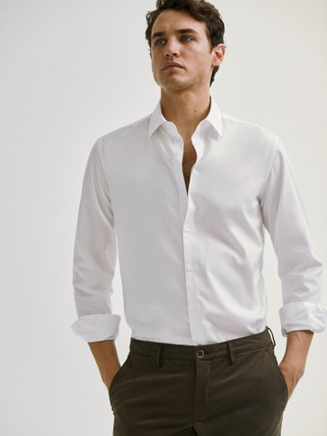قميص قطني من نسيج التويل بقصة ضيقة