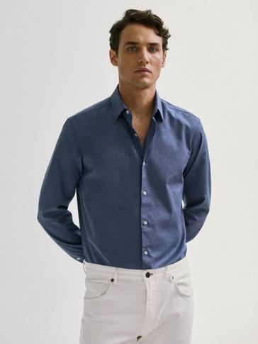 Camisa sarga algodón slim fit