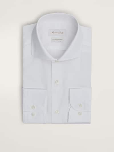 마시모두띠 Massimo Dutti SLIM FIT COTTON POPLIN SHIRT,WHITE