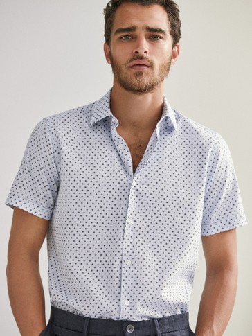 Camisa 100% algodón estampada slim fit