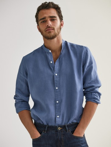 100% linen slim fit shirt with stand-up collar
