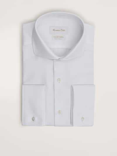 마시모두띠 Massimo Dutti SLIM FIT TEXTURED COTTON SHIRT WITH DOUBLE CUFFS,WHITE