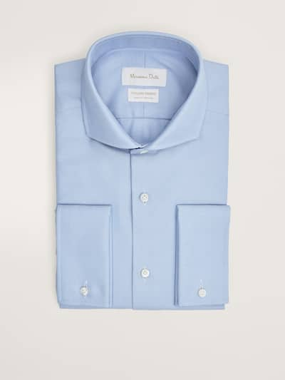 마시모두띠 Massimo Dutti SLIM FIT TEXTURED COTTON SHIRT WITH DOUBLE CUFFS,BLUE